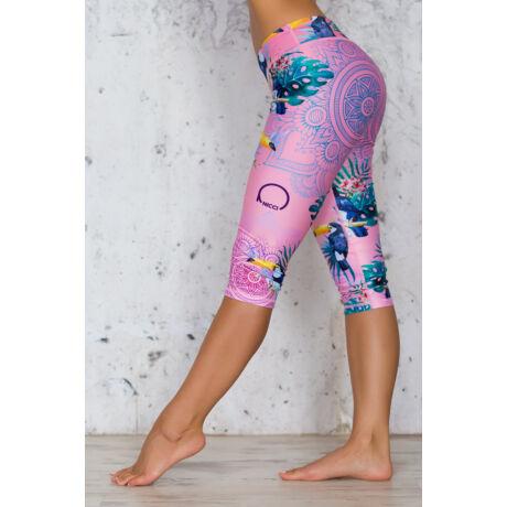 Nicci Pink Toucan capri leggings
